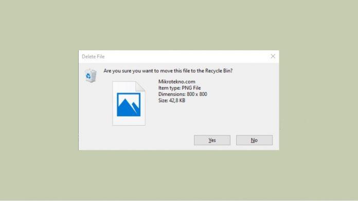 konfirmasi saat hapus file folder